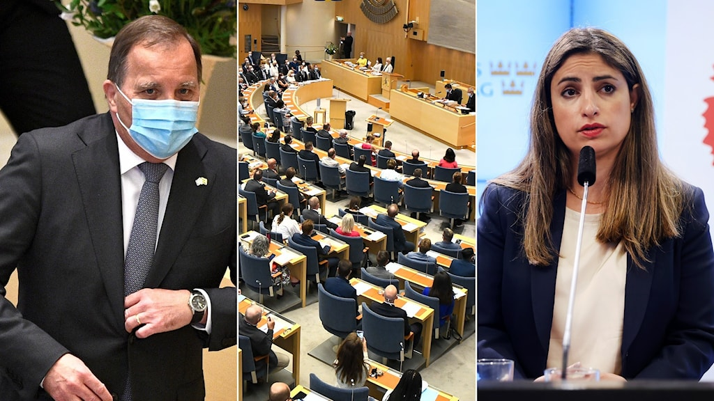 Stefan Löfven och Nooshi Dadgostar i Riksdagen.