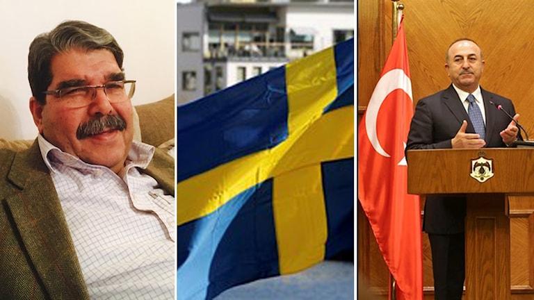 Salih Muslim, svenska flaggan, Turkiets utrikesminister.
