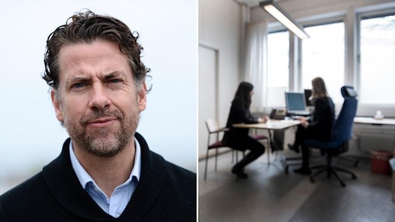 Tvådelad bild: Mikael RIbbenvik och två personer sitter och pratar vid ett skrivbord under en asylprocess