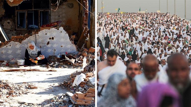 Kurdiks kvinna sittande framför ruinerad vägg, pilgrimer i Mecka