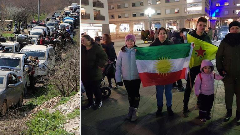 Flykten från Afrin och Afrinborna i Sverige på demonstration