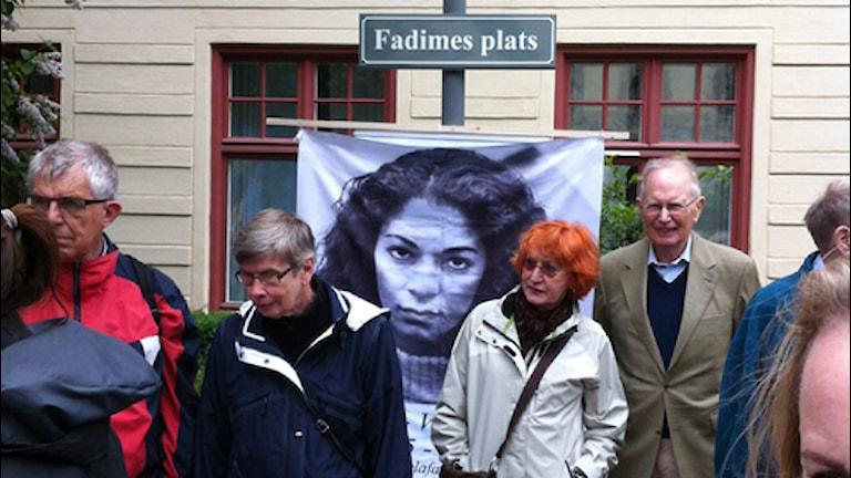 Peykerê bîranîna Fadime Sahindal. wêne: Ercan Aras /Radio Sweden Kurdiska