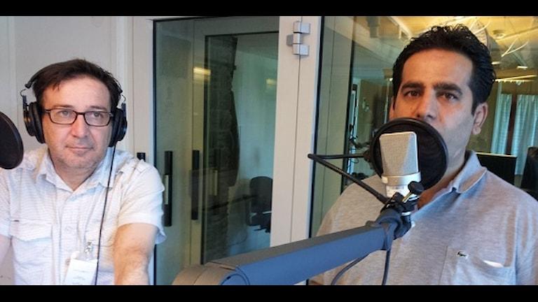 Xweşnav Tillo och Sirwan Hecî Berko i sudio. Foto: Besir Kavak, SR International