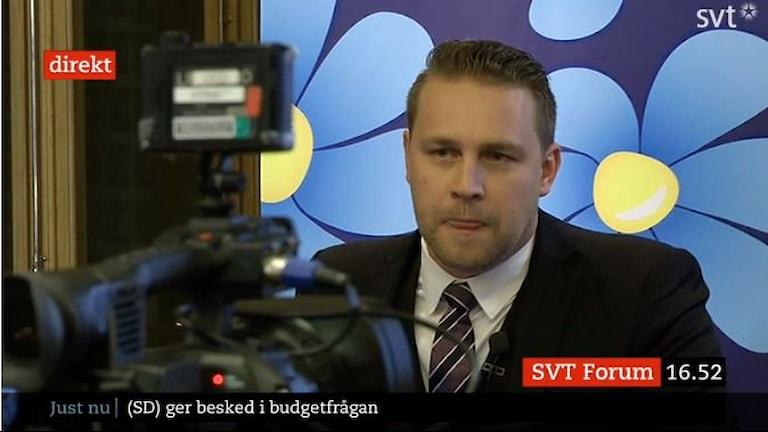Mattias Karlsson (SD). Sawirle: SVT