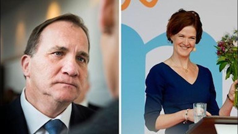 Serokê partiya sosyaldemokratan Stefan Löfvén û seroka partiya moderatan Anna Kinberg Batra. Wêne: Nora Lorek/TT û Janerik Henriksson/TT.