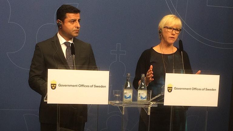 Presskonferens Margot Wallström och HDP ledaren Selahattin Demirtas
