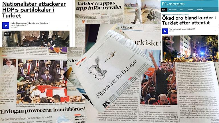 Êrîş û aloziya li Tirkiyê di çapemeniya Swêdê de. Foto: Besir Kavak, Sveriges Radio