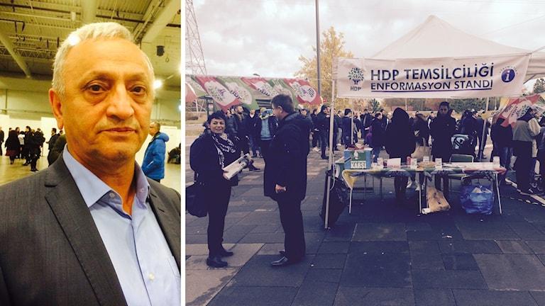 HDP representanten i Sverige och partiets anhängare utanför Kistamässan. Foto: Sveriges Radio