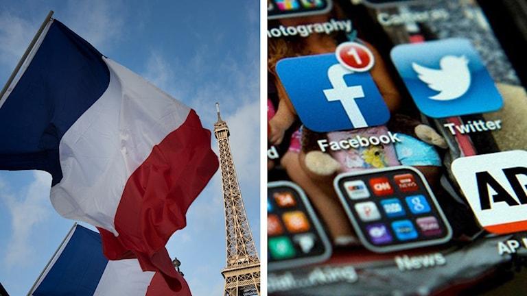 Franska flaggan, Eiffeltornet och mobilskärm med Facebook och Twitter. Foto: TT