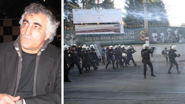 Kemal Görgu från Kurdiska Nationella Kongressen om demonstrationen mot turkiska militären attacker i de kurdiska städerna. Foto: Besir Kavak, Sveriges Radio & Ömer Kusku, TT