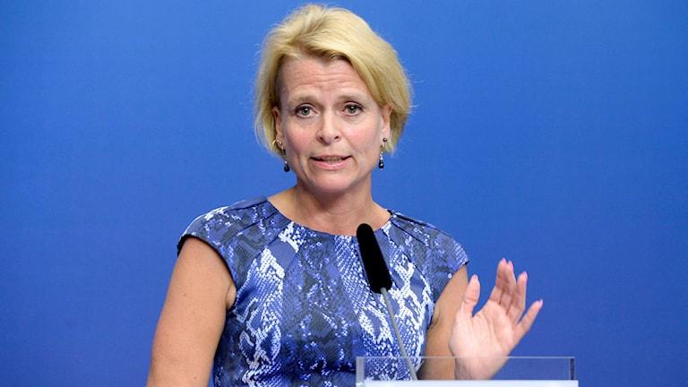 Wezîra wekheviyê Åsa Regnér ji Partiya Sosyaldemokratan. Wêne:  Bertil Ericson/TT.