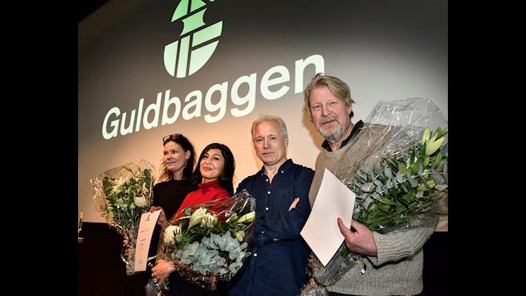 Nûnerên fîlmê En man som heter Ove ku ji bo 6 xelatên Guldbaggenê weke namzed tê nîşandan. Ji çepê Annika Bellander (derhenêr), Bahar Pars, Hannes Holm (rejîsor) û Rolf Lassgård (Ove). Wêne: Anders Wiklund / TT.