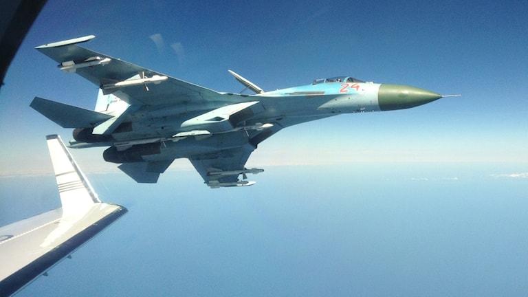 szf7df0e ryskt flygplan. bild tagen av svenskt spaningsflygplan. Foto: FRA.