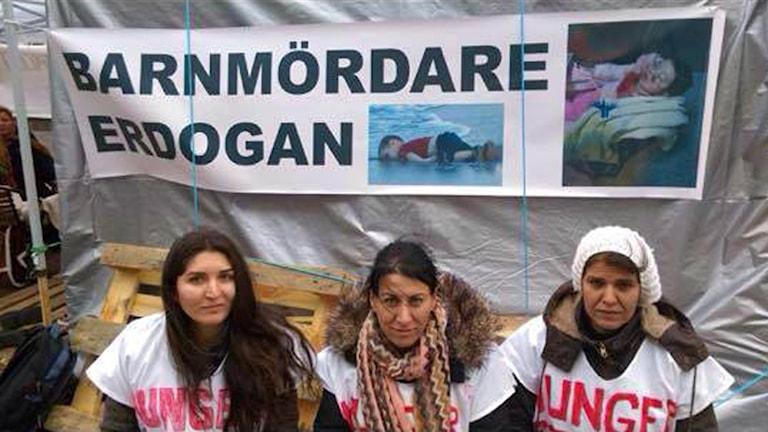 Tre kurdiska kvinnor i hungerstrejk i Helsingborg. Foto: Privat