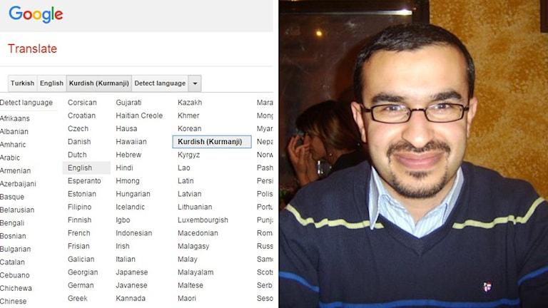 Språken i Google Translate och lingvistikern Husein Muhammed.