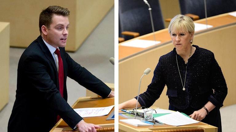 Hans Linde och Margot Wallström. Foto: TT