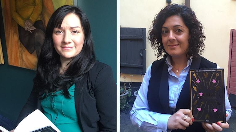 Berivan Öngörur och Nadja Hatem här med var sitt exemplar ab boken som de var medförfattarinor för. Foto: Radio Sweden