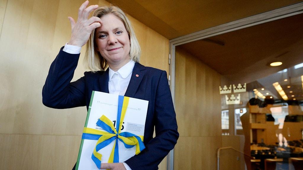 Wezîra malî Magdalena Andersson ji partiya Sosyaldemokratan (S).