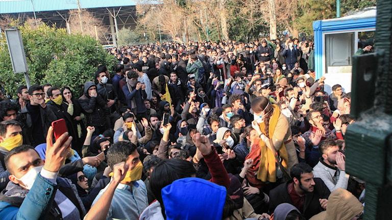 Xwenîşandana xwendekaran li zanîngeha Tehranê.