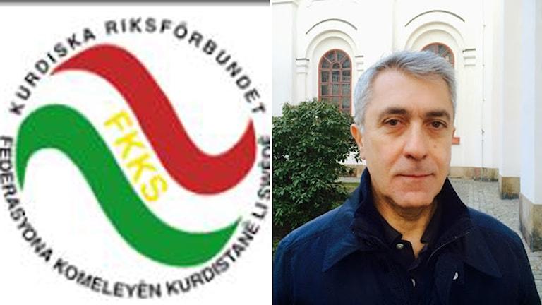 Kurdiska Riksförbundets logga och dess ordförande Keya Izol