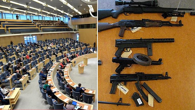 Montage med riksdagen samt beslagtagna vapen.