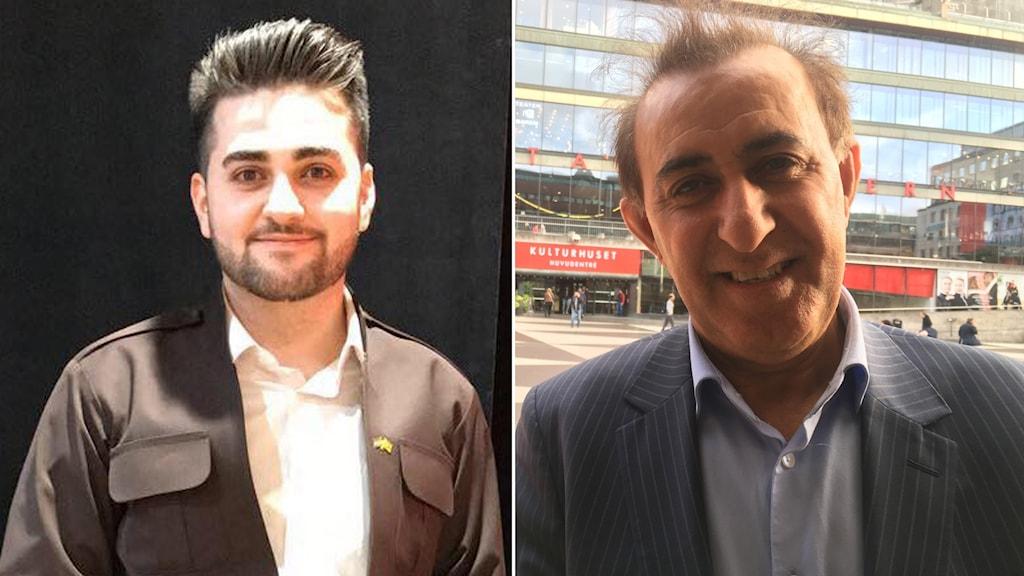 Nechirvan Baroshki från Enköping som åkt ner för att rösta. Vänster: Den tidigare riksdagsledamoten Jabar Amin följer valet från Sverige.