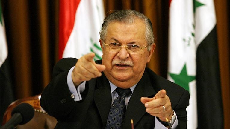 Sekreterê giştî yê Yekîtiya Nîştmanî ya Kurdistanê û serokkomarê berê yê Îraqê Celal Talalabanî.