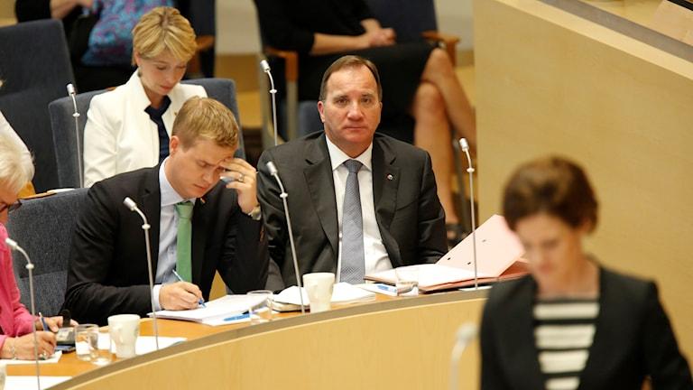 Stefan Löfven, Gustav Fridolin och Anna-Kinberg Batra i riksdagen