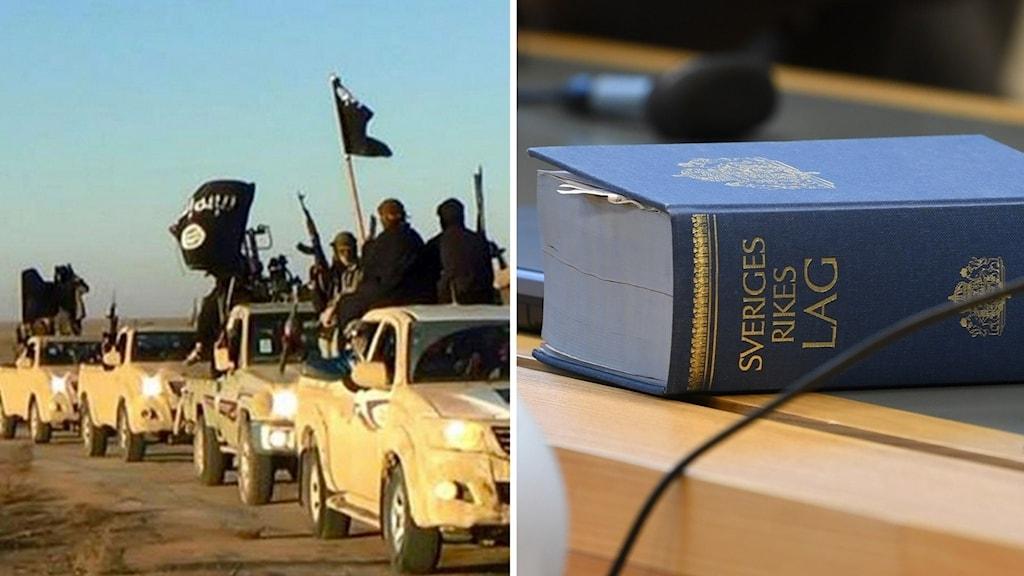 IS-medlemmar i bilar och Lagbok i en rättssal.