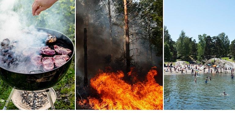 Grill, brand och bad.