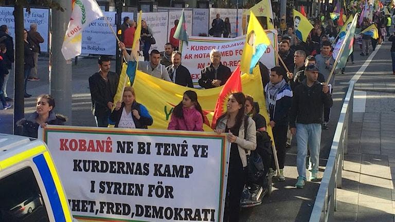 Kurdisk demonstration i Stockholm