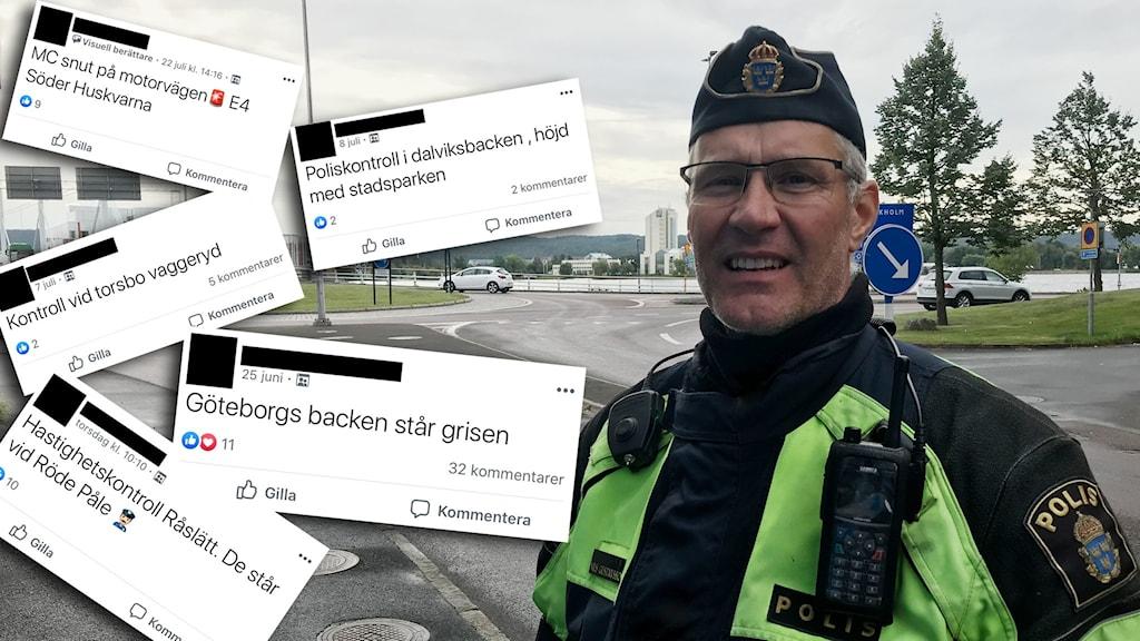 En polis står i en rondell och bredvid honom står flera kommentarer från facebook inklippta