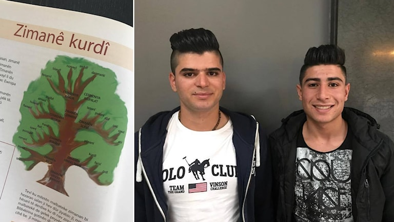 Sîpan Mustafa û Huseîn Mohamed ji rojavayê Kurdistanê nuha li Västerås bo cara yekem zimanê kurdî dixwînin. Wêne: Radyoya Swêdê.
