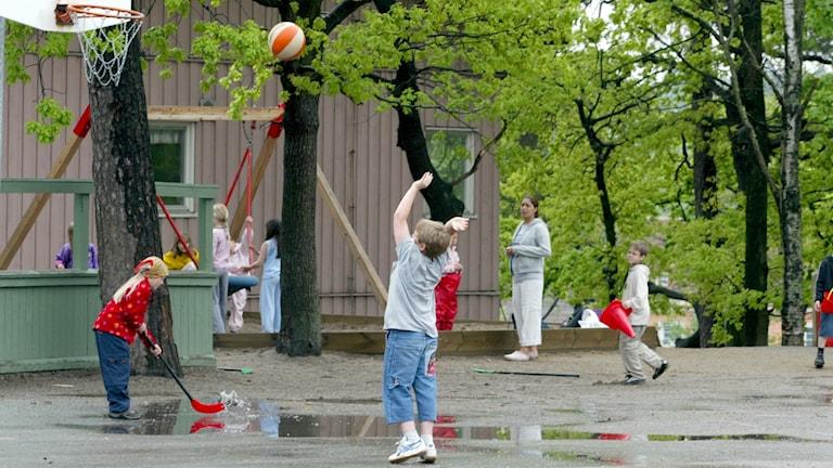 Skolgård, elever, basket, lek, grundskola