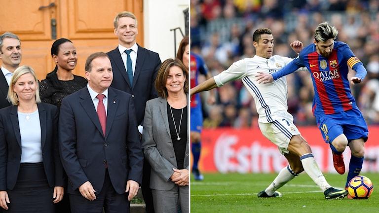 Löfven med några ministrar - Messi och Ronaldo
