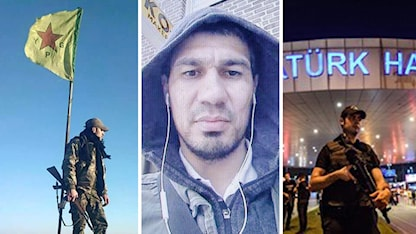 kurdisk ypg soldat, Akilov, turkisk soldat framför flygplatsen