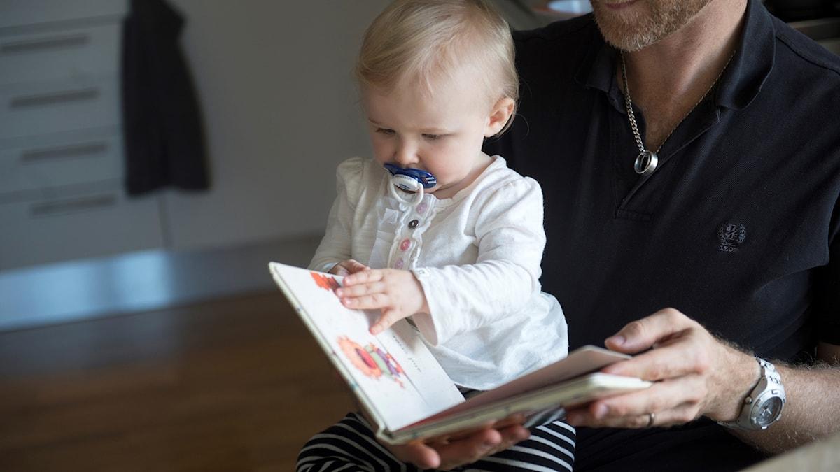 Bav ji zaroka xwe re pirtûkê dixwîne.