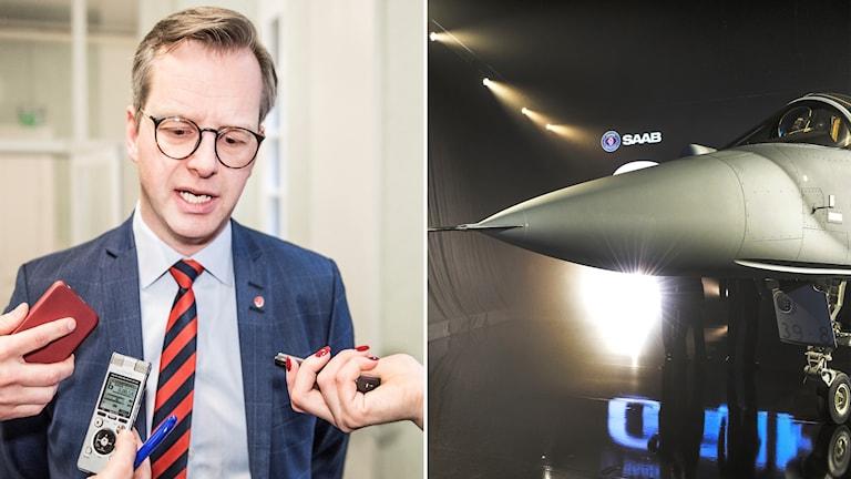 Mikael Damberg, wezîrê sanayî û bazirganiyê yê swêdî û balafirên şer ên ku Swêd dixwaze bifiroşê, JAS Gripen.