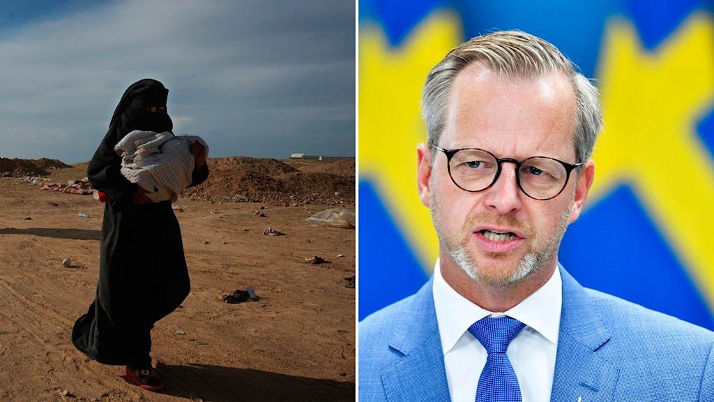 Tvådelad bild med en IS-kvinna med ett barn i famnen till vänster och Damberg till höger.