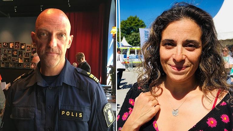 Polisen Jale Poliarevius och säkerhetsansvarig i Botkryka kommun Pernilla Vera
