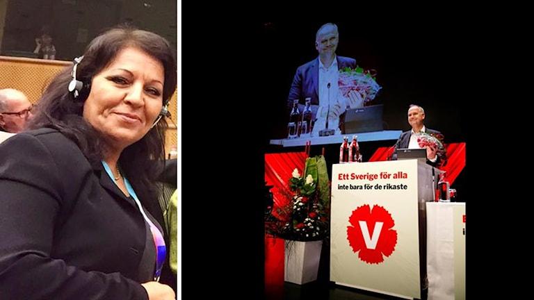 Salima Fahad och Jonas Sjöstedt på talarstol