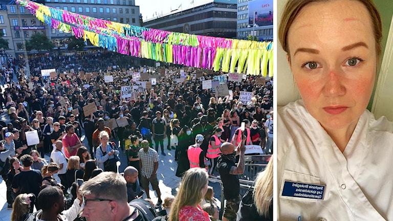 Stephanie Bruksgård i arbetskläder, med märken efter skyddsmask i ansiktet bredvid en grupp demonstranter.