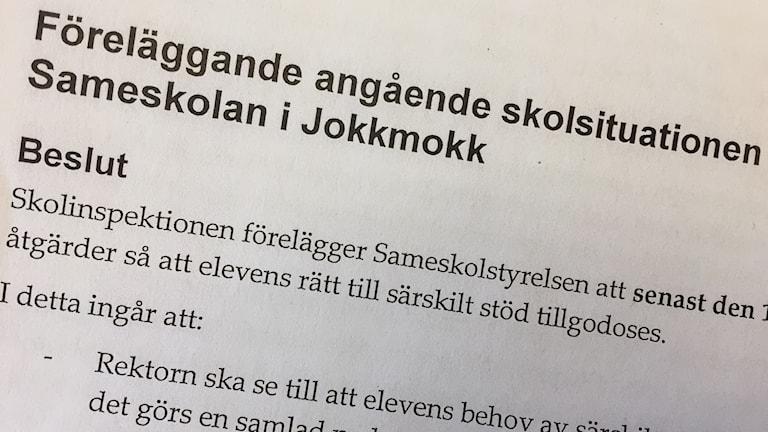 Beslut från skolinsektionen. Foto Sameradion & SVT Sápmi.