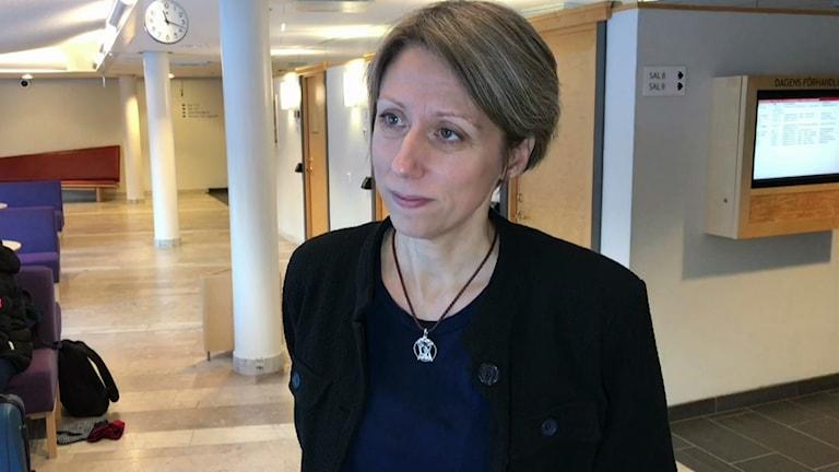 Forskare Malin Brännström är en av de forskare som följer Girjasrättegången i Umeå. Foto: Maria Dahlgren/SVT
