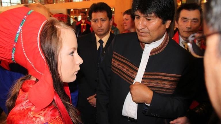 Evo Morales i Karasjok. Foto: Ann Marita Eriksen/NRK