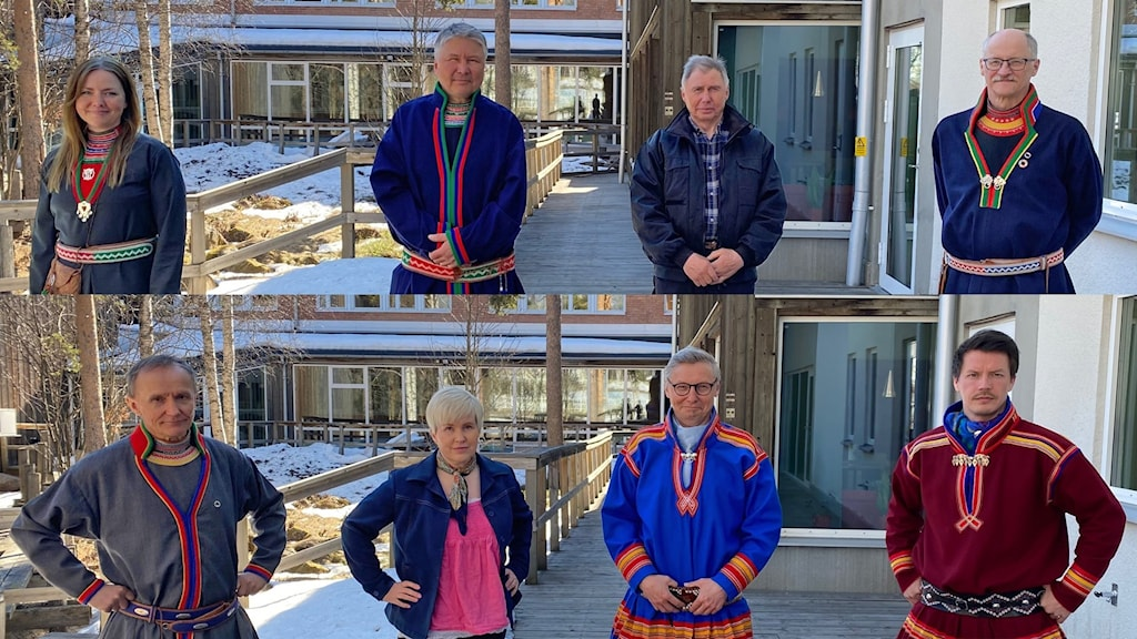 Debatt inför sametingsvalet 2021. Marie Persson Njajta, Anders Kråik, Ronny Svarto, Jan Rannerud, Håkan Jonsson, Christina Åhrén, Per-Olof Nutti, Lars-Miguel Utsi. Jokkmokk 5 maj 2021.