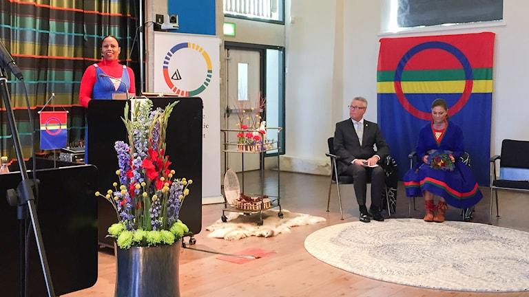 Alice Bah Kuhnke håller tal under Sametingets invigning i Östersund.