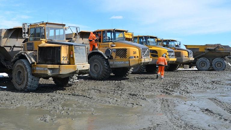 Maskiner vid gruvan i Kaunisvaara. Foto: Lars-Ola Marakatt / SR Sámiradio