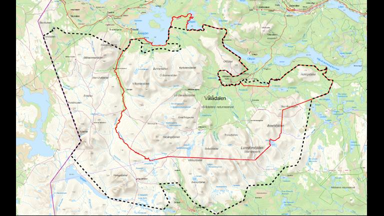 Den planerade nationalparken i Jämtland (Sylarna-Helags-Vålådalen). Bild: Länsstyrelsen i Jämtlands län.