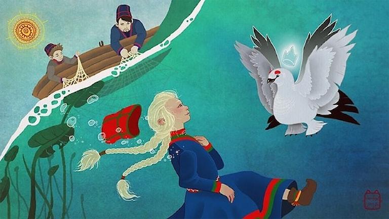 I första delen av Elsa i Saajvoe-kungens rike, följer hon med sin pappa ut för att fiska på en sjö.
